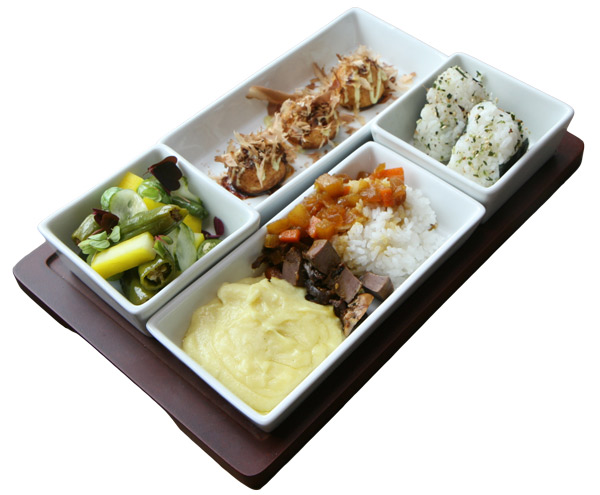 Clockwise from top: pig heart takoyaki, pig heart onigiri, yam puree and curry with braised pig heart, and pickles