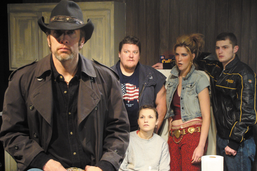 """The cast of <i>Killer Joe</i>. From left: Cox, Howie Johnson, Claire Wellin, Somer Benson, and Kevin Bigley. """"It's vicious and real!"""" one blogger wrote of the production."""