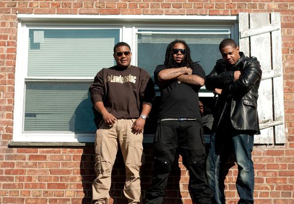 King Louie (center) at a video shoot in Morgan Park in November