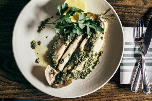 Trout simply broiled and served with a bright lemon-parsley sauce was one of Kinmont's most memorably tasty dishes.