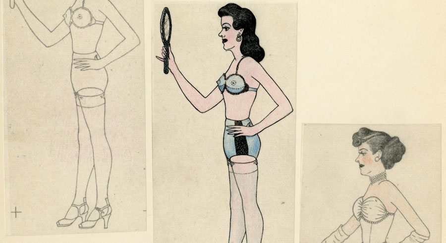 """This triptych of a man cross-dressing is one of the pieces of personal homemade erotica featured in """"Private Eyes: Selected Artwork From the Kinsey Institute Collection."""""""