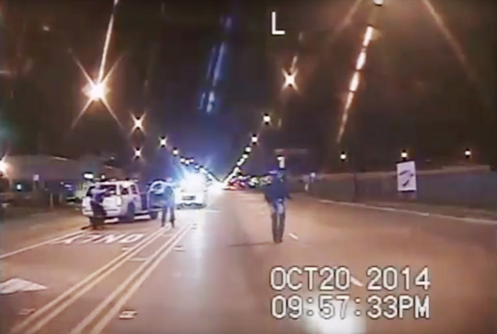 A still from a police dashcam video shows officer Jason Van Dyke fatally shooting Laquan McDonald in October 2014.