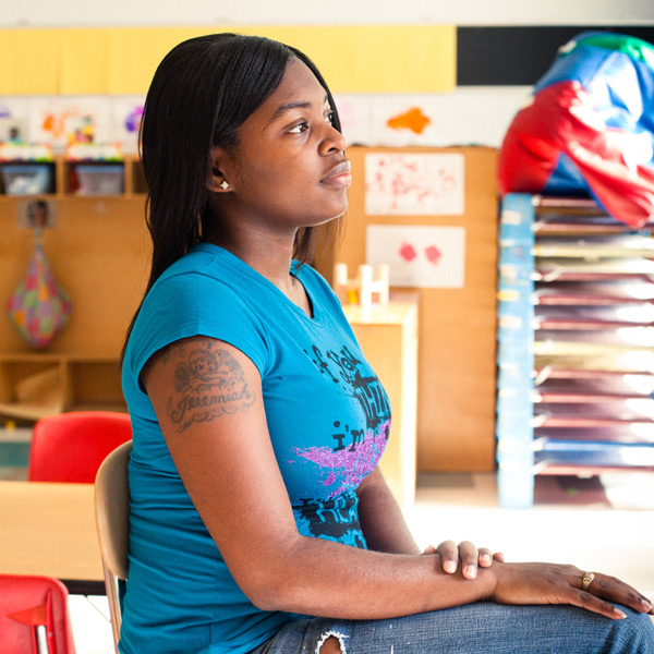 """""""I wanted more for myself than the corners I saw everyday,"""" says Latoya Winters, pictured here at Marillac house."""