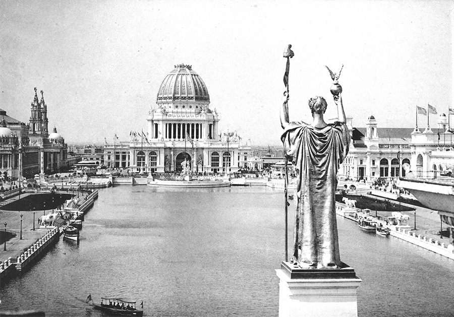 Looking west over the Grand Basin of the 1893 World's Columbian Exposition