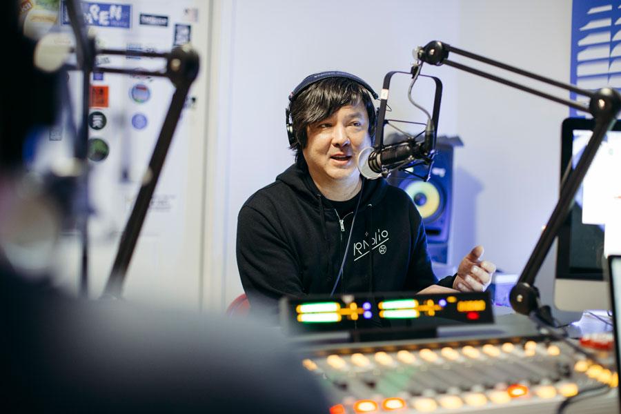 Marszewski on the air in the Lumpen Radio studio
