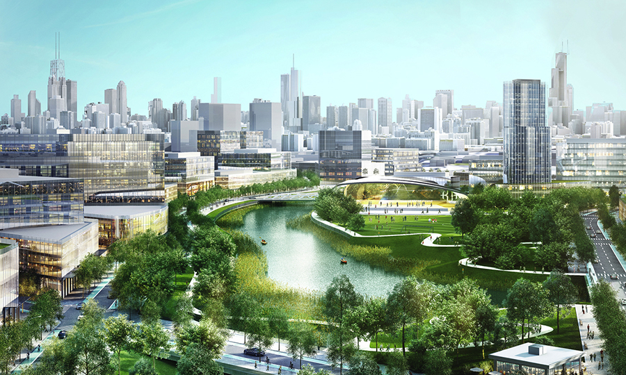 Artist's rendering of the Lincoln Yards development