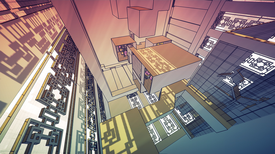The fantastical structures in Manifold Garden are influenced by 20th century artists and architects like M.C. Escher, Frank Lloyd Wright, and Tadao Ando.