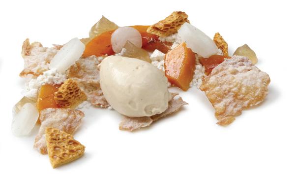 Poached kabocha squash with caramelized-honey ice cream and lemon-mastic granita