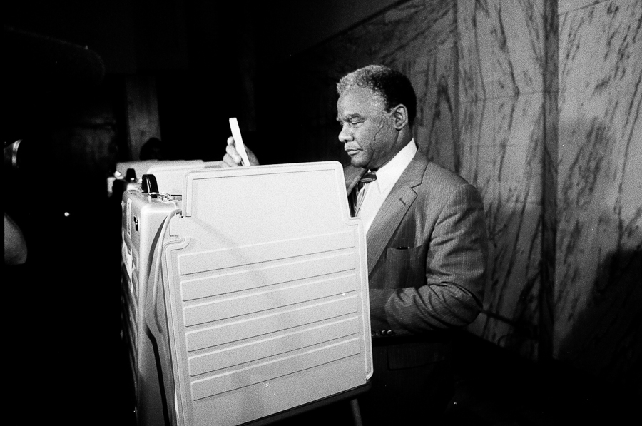 Mayor Harold Washington votes in the 1st Congressional primary in 1983.