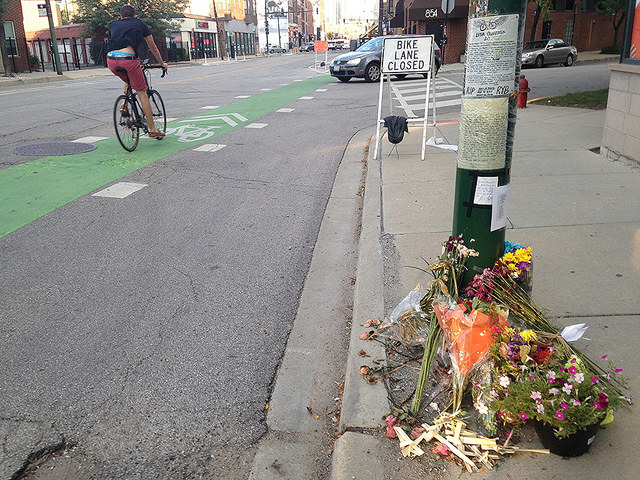 The memorial to Lisa Kuivinen at the crash site at Milwaukee and Racine.