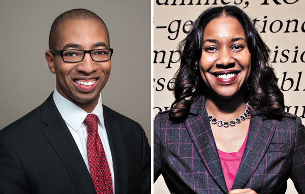 Rep Christian Mitchell (left) says the community should have a voice on the school board; challenger Jay Travis says he's late to the party.