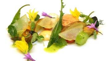 Monkfish liver torchon with uni creme and heirloom tomato salad