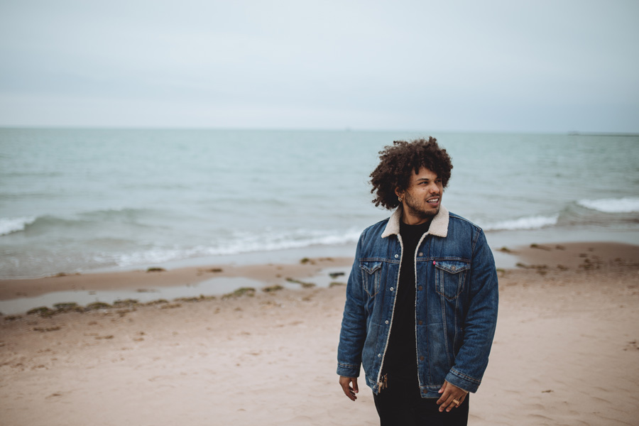 """Purp at Oak Street Beach: """"I wish it was nicer out, so I could just kick it on the beach like we used to."""""""