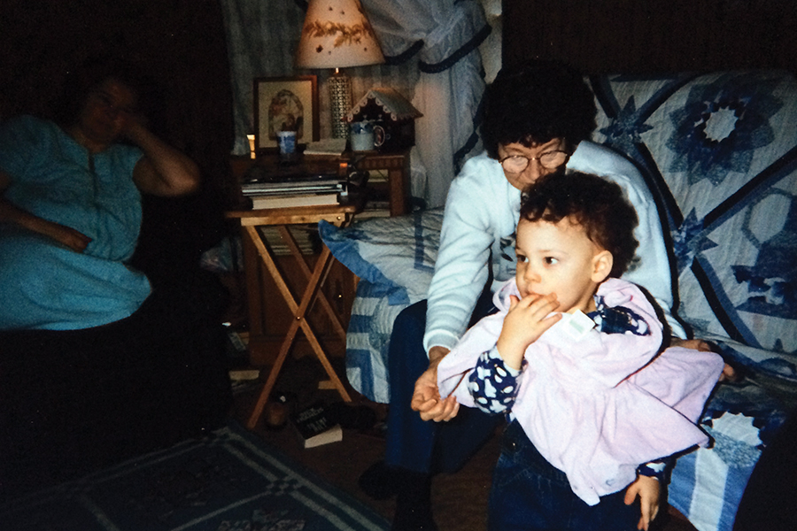"""An infant Kweku Collins with the great-grandmother whose life he honors inhis song """"Memorial"""""""