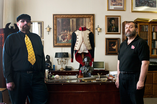 Todd Fisher and John Brewster inside the headquarters of the Napoleonic Historical Society