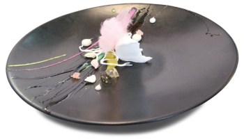 Necco Wafer coconut pudding with Necco cotton candy, assorted garnishes, and Necco paint