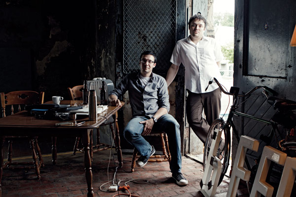 Samuel Evans (seated) and Jesse Edwin Evans are building the brewery of the future.
