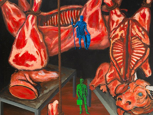 A detail from Wojnarowicz's painting <i>North/South: The New Legionnaires</i>