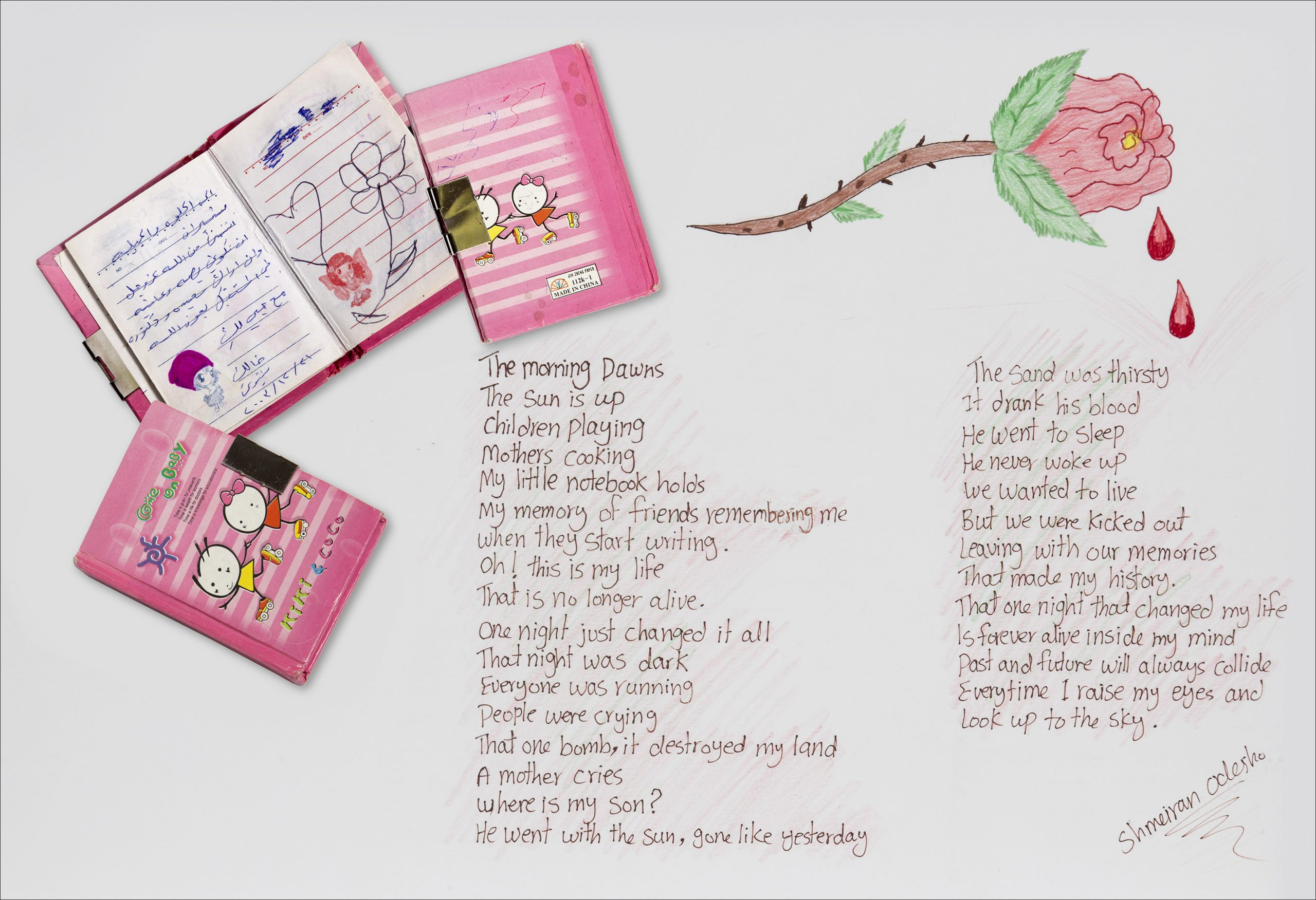 Schmeiran Oclesho's Hello Kitty notebook with messages from her friends