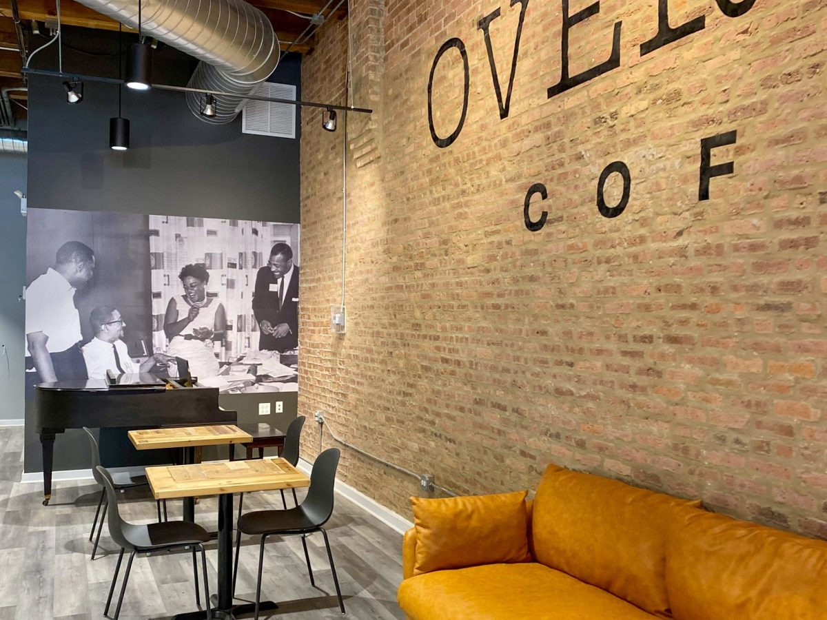 The black-and-white image of the Vee-Jay team that is prominently featured in Overflow Coffee was taken at the label's office in 1959.