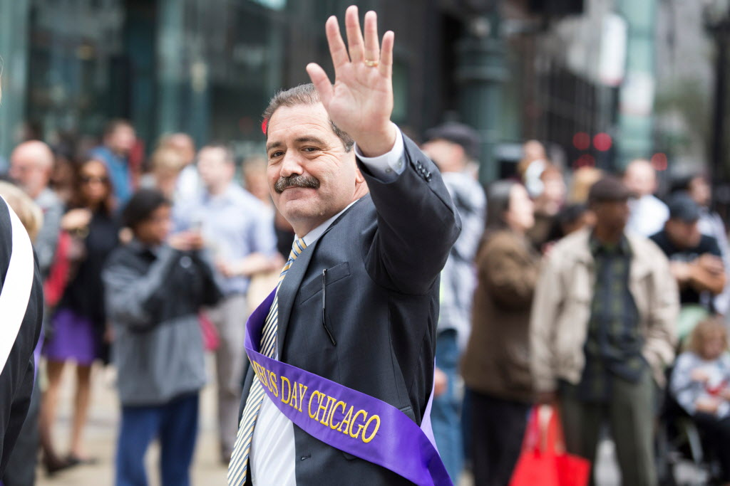 Jesus Garcia, marching in the Columbus Day Parade last October. The 2015 mayoral candidate campaigned hard for Bernie Sanders.