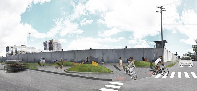 A CDOT rendering of the Paseo at 26th and Sacramento, looking southeast towards the Cook County Jail.