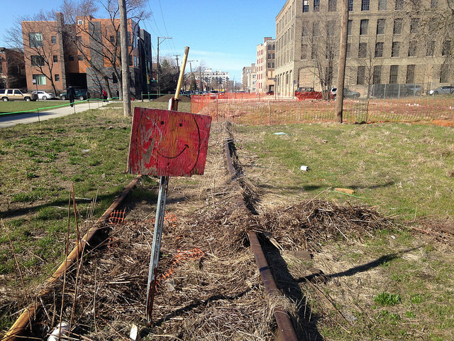 Abandoned BNSF rail line near 21st and Sangamon, which will become part of the Paseo this summer.