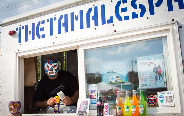 Get some face time with this guy at the Pilsen Food Truck Social