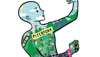 The outline of a human shape, with a festival wristband on one arm and a butterfly perched on the other hand, contains the blue skies, fields, stages, and fans of the PItchfork Music Festival.