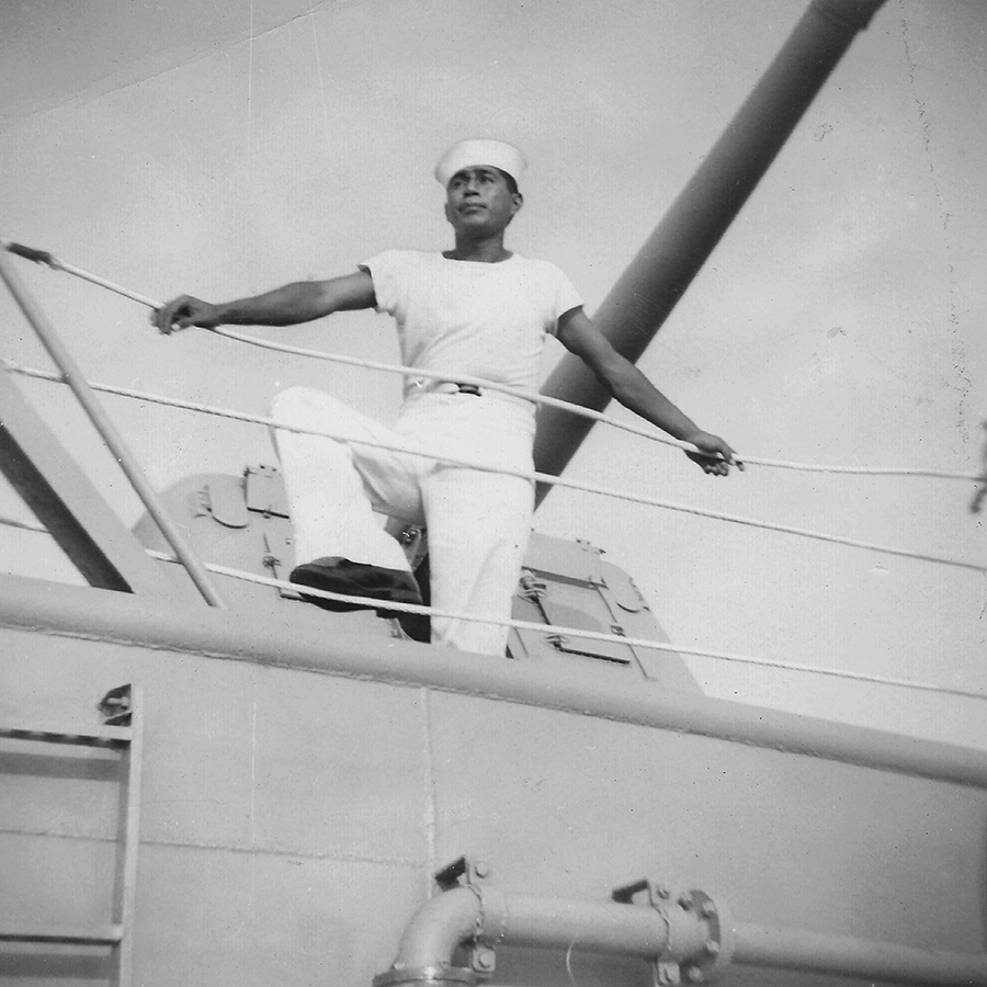 Garcia in the Navy in Norfolk, Virginia, 1956.  As a lower ranked sailor, Garcia would be hoisted over the side of the ship to clean off rust and debris. One day he decided to challenge his fellow shipman to see who could complete the task the fastest. Unbeknownst to them, the captain saw them as they rushed to see who would finish first. Impressed by their tenacity, he offered them the chance to train in any department they wished.
