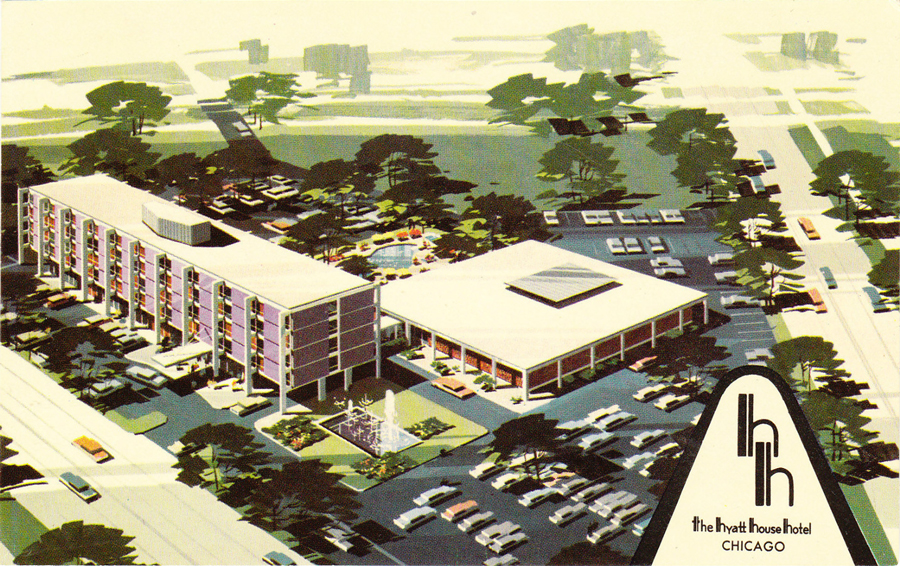 A postcard for the Purple Hotel, printed around the time it opened in 1960