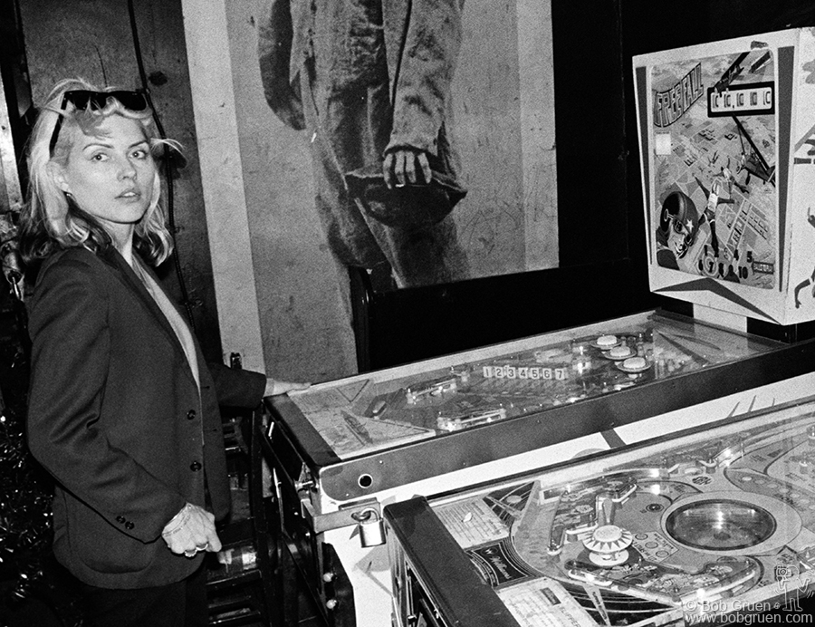 Debbie Harry of Blondie playing pinball at CBGB's in NYC in 1977