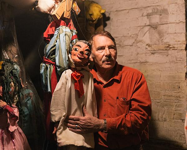 Puppeteer Ralph Kipniss in his Michigan City basement