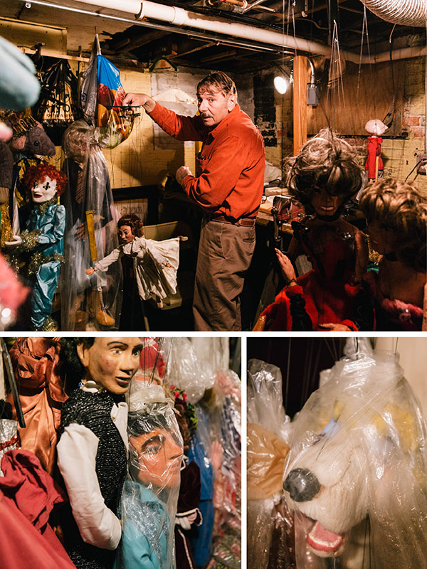Approximately 300 handmade marionettes hang in Kipniss's Michigan City basement. Thousands more hang in limbo in Wicker Park.