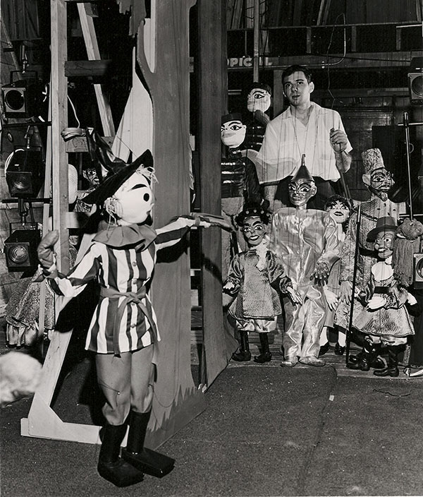 Ralph Kipniss and the marionettes he used for his production of The Wizard of Oz in 1964 or '65