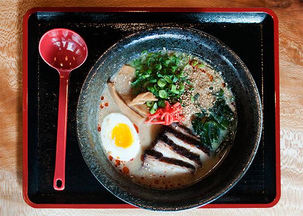 Ramen-San's tonkotsu ramen with slabs of roasted pork belly