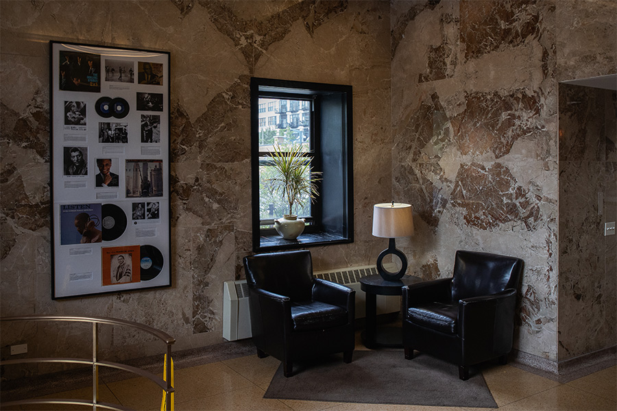 The lobby of Chess Lofts at 320 E. 21st displays the covers of albums released by Chess Records, which occupied the building from 1966 till 1975.