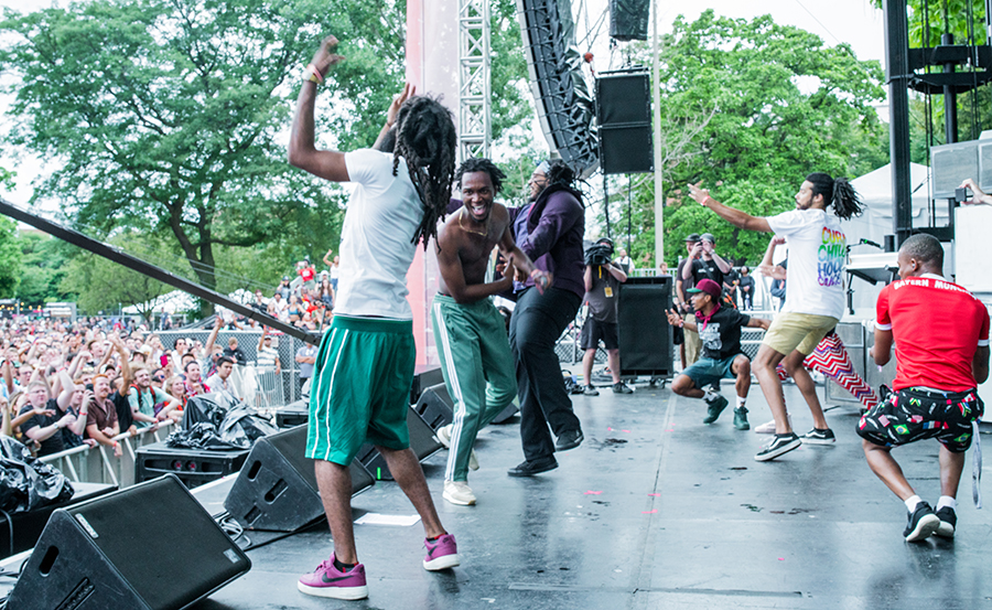 Fellow members of Pivot Gang join Saba for his encore. From left: Squeak Pivot, Saba, Mfn Melo, Frsh Waters, and Daoud. (Not sure who's in the red shirt.)