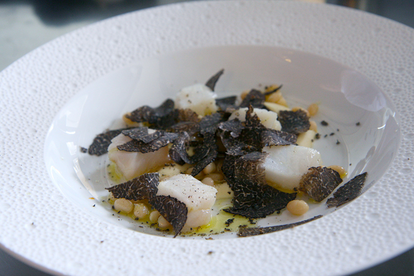 Salt cod with purgatory beans and truffles