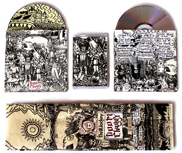 Sam Nigrosh's artwork for Dark Matter coffee blend Doom Chuggy, a collaboration with Thrill Jockey packaged with a compilation of tracks by the label's artists