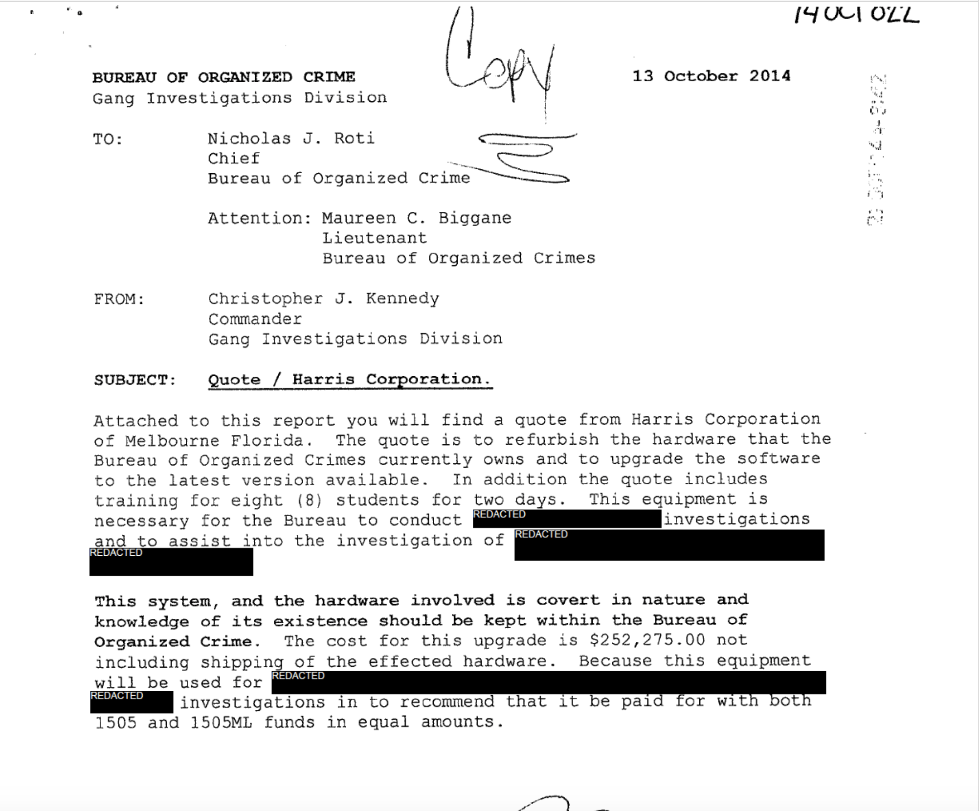 The 2014 letter that revealed the existence of dedicated civil forfeiture accounts.