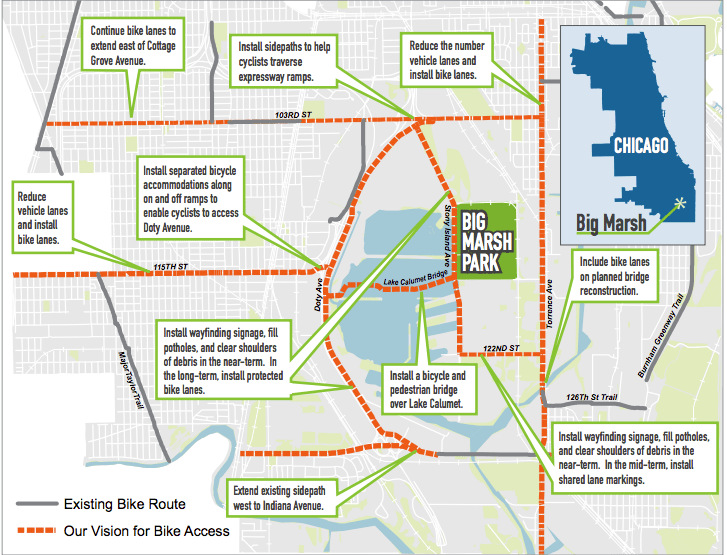 A map of proposed improvements to cycling infrastructure around Big Marsh
