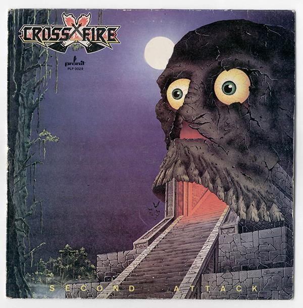 The cover of Crossfire's 1985 album Second Attack, skull number 559 at Big Dumb Skulls