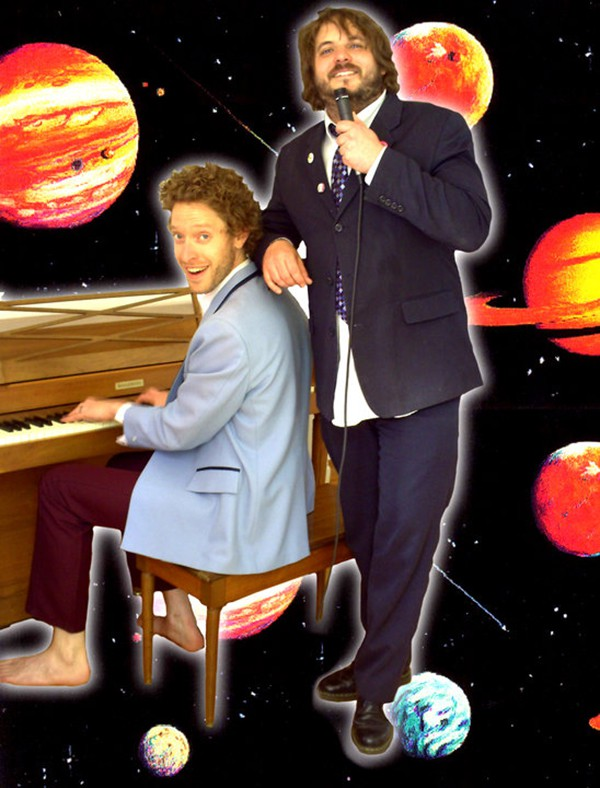 Shame That Tune cohosts Abraham Levitan and Brian Costello (planets not to scale)
