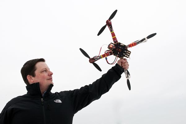 Ryan Twose in a triumphant pose with one of his drones—or one of his unmanned aircraft systems, your call.