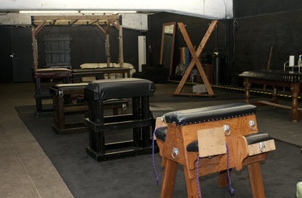 The Leather Rose Association has around two dozen pieces of equipment in its dungeon, including a spanking bench.