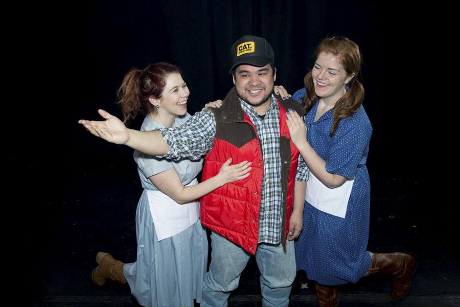 Caroline Nash, Kyle Encinas, and Ashley Geron in WeAreProductions' <i>Smokey & the Bandit: The Musical</i>