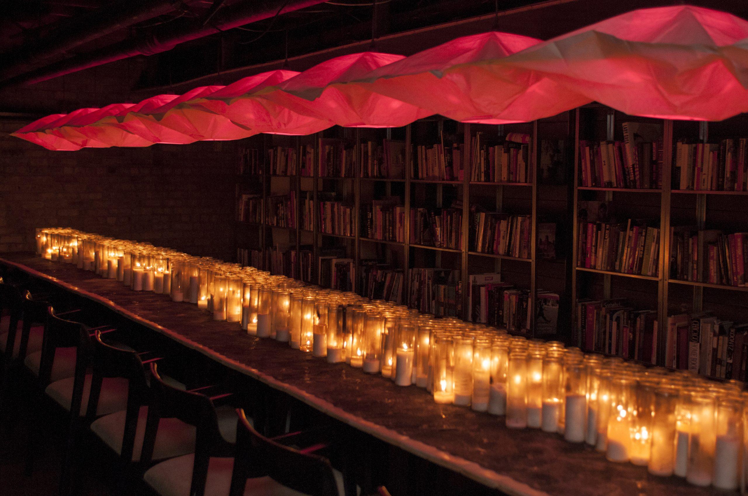Hopkins's basement dining room boasts a custom table that seats 24.