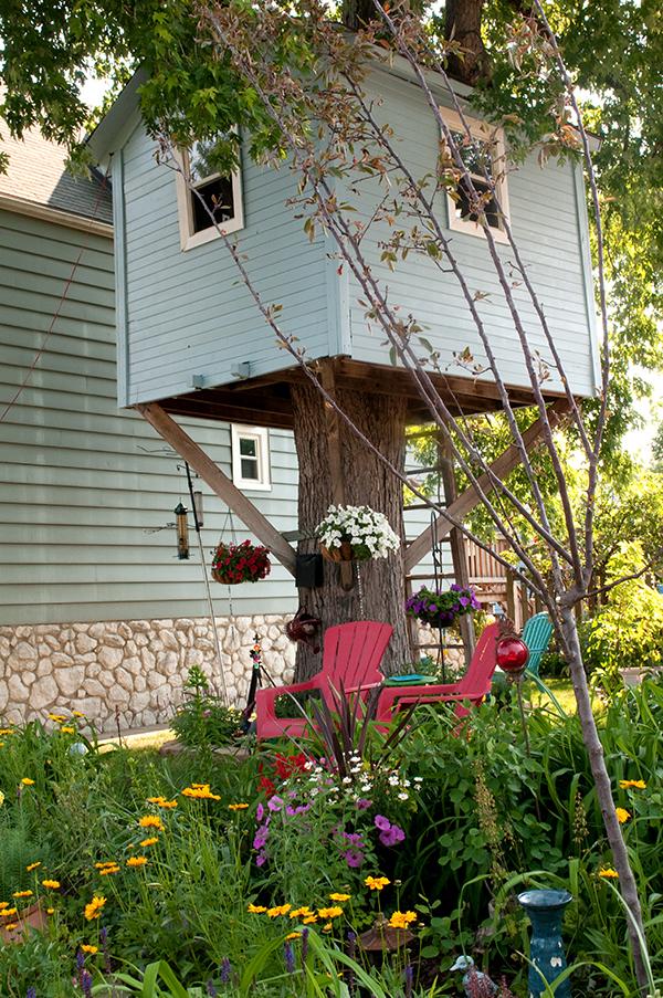 The tree house and Liz Gabbard's award-winning garden