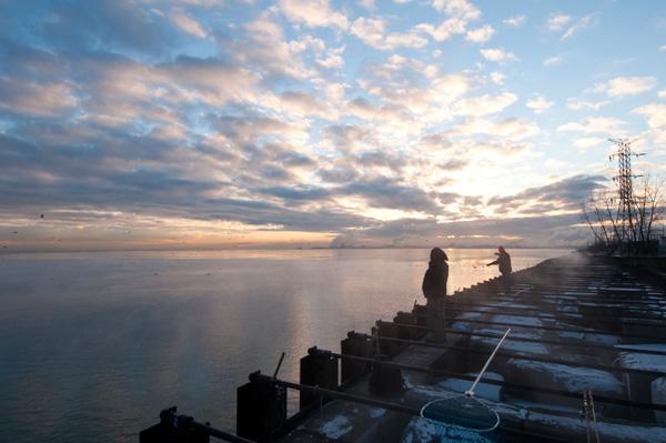 Fishermen at dawn at State Line